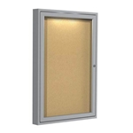 "Ghent 24"" x 36"" 1-Door Aluminum Frame Enclosed Natural Cork Tackboard w/ Concealed Lighting"