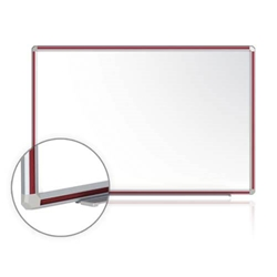 "Ghent 48"" x 36"" DecoAurora Aluminum Frame Porcelain Magnetic Whiteboard - Cherry Trim"