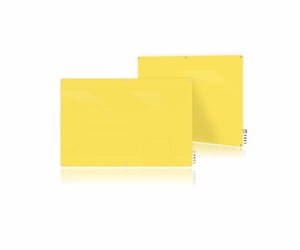Ghent Ghent HMYRM48YW 4x8 Harmony Magnetic Glass Board- Radius Corners-Yellow-4 Magnets,4 Markers,Eraser