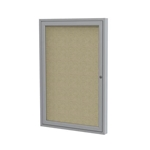 "Ghent 18"" x 24"" 1-Door Satin Aluminum Frame Enclosed Fabric Tackboard - Beige"