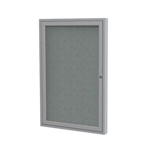 "Ghent 18"" x 24"" 1-Door Satin Aluminum Frame Enclosed Fabric Tackboard - Gray"