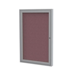 "Ghent 18"" x 24"" 1-Door Satin Aluminum Frame Enclosed Fabric Tackboard - Merlot"