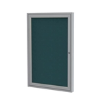 "Ghent 18"" x 24"" 1-Door Satin Aluminum Frame Enclosed Fabric Tackboard - Blue"