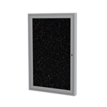 "Ghent 18"" x 24"" 1-Door Satin Aluminum Frame Enclosed Recycled Rubber Tackboard - Tan Speckled"