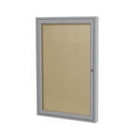"Ghent 18"" x 24"" 1-Door Satin Aluminum Frame Enclosed Vinyl Tackboard - Caramel"