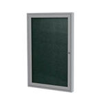 "Ghent 18"" x 24"" 1-Door Satin Aluminum Frame Enclosed Vinyl Tackboard - Ebony"
