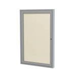 "Ghent 18"" x 24"" 1-Door Satin Aluminum Frame Enclosed Vinyl Tackboard - Ivory"