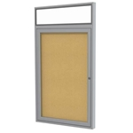 "Ghent 24"" x 36"" 1-Door Satin Alum Frame w/ Illuminated Headliner Enclosed Tackboard - Natural Cork"