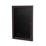 "Ghent 18"" x 24"" 1-Door Bronze Aluminum Frame Enclosed Vinyl Letterboard - Black"
