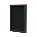 "Ghent 18"" x 24"" 1-Door Bronze Aluminum Frame Enclosed Fabric Tackboard - Black"