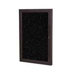 "Ghent 18"" x 24"" 1-Door Bronze Aluminum Frame Enclosed Recycled Rubber Tackboard - Tan Speckled"