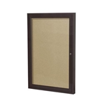 "Ghent 18"" x 24"" 1-Door Bronze Aluminum Frame Enclosed Vinyl Tackboard - Caramel"