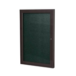 "Ghent 18"" x 24"" 1-Door Bronze Aluminum Frame Enclosed Vinyl Tackboard - Ebony"