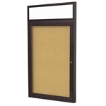 "Ghent 24"" x 36"" 1-Door Bronze Alum Frame w/ Headliner Enclosed Tackboard - Natural Cork"