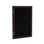 "Ghent 18"" x 24"" 1-Door Wood Frame Walnut Finish Enclosed Recycled Rubber Tackboard - Tan Speckled"