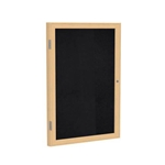 "Ghent 18"" x 24"" 1-Door Wood Frame Oak Finish Enclosed Recycled Rubber Tackboard - Black"