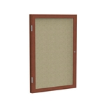 "Ghent 18"" x 24"" 1-Door Wood Frame Cherry Finish Enclosed Fabric Tackboard - Beige"