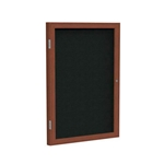 "Ghent 18"" x 24"" 1-Door Wood Frame Cherry Finish Enclosed Fabric Tackboard - Black"