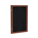 "Ghent 18"" x 24"" 1-Door Wood Frame Cherry Finish Enclosed Recycled Rubber Tackboard - Black"