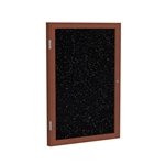 "Ghent 18"" x 24"" 1-Door Wood Frame Cherry Finish Enclosed Recycled Rubber Tackboard - Tan Speckled"