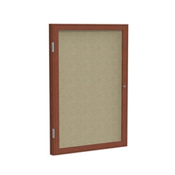 "Ghent 3"" x 36"" 1-Door Wood Frame Cherry Finish Enclosed Fabric Tackboard - Beige"