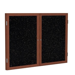 "Ghent 6"" x 48"" 2-Door Wood Frame Cherry Finish Enclosed Recycled Rubber Tackboard - Tan Speckled"