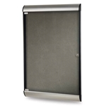"Ghent 26.5"" x 42.125"" 1-Door Silhouette Enclosed Tackboard, Satin & Black Frame w/ Flair Fabric - Charcoal"