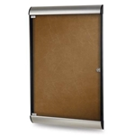 "Ghent 26.5"" x 42.125"" 1-Door Silhouette Enclosed Tackboard, Satin & Black Frame w/ Flair Fabric - Camel"