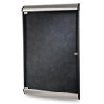 "Ghent 26.5"" x 42.125"" 1-Door Silhouette Enclosed Tackboard, Satin & Black Frame w/ Flair Fabric - Twilight"