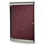 "Ghent 26.5"" x 42.125"" 1-Door Silhouette Enclosed Tackboard, Satin & Black Frame w/ Flair Fabric - Cabernet"
