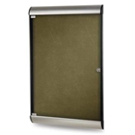"Ghent 26.5"" x 42.125"" 1-Door Silhouette Enclosed Tackboard, Satin & Black Frame w/ Flair Fabric - Forest"