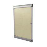"Ghent 26.5"" x 42.125"" 1-Door Silhouette Enclosed Tackboard, Satin Frame w/ Vinyl Fabric - Caramel"