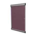 "Ghent 26.5"" x 42.125"" 1-Door Silhouette Enclosed Tackboard, Satin Frame w/ Vinyl Fabric - Berry"