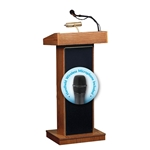 The Orator Lectern  with Handheld Wireless mic (Medium oak)