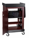 Smart Multimedia Cart/Lectern with 3 Inner Shelves and Locking Doors in Mahogony