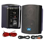 Amplivox Powered Wall Mountable PA Stereo Speakers