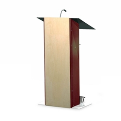 K2 Contemporary Mahogany Wood and Aluminum Full Floor Lectern with Shelf and Wheels