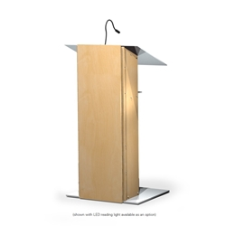 Urbann K2 Contemporary Natural Wood and Aluminum Full Floor Lectern with Shelf