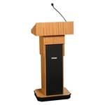 Adjustable Height Executive Sound Column Full Floor Lectern with LightOak Finish Amplivox,S505ALO