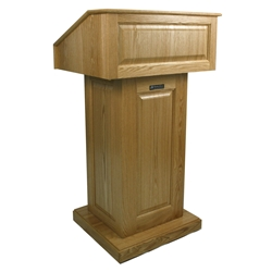 Amplivox Victoria Solid Hardwood Lectern with Natural Oak Finish-without Sound