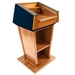 Amplivox Patriot Solid Hardwood Multimedia Lectern with Wireless Sound and Cherry Finish/Red Fabric - SW3040-CH-RedFabric