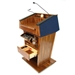 Amplivox Patriot Plus Solid Hardwood Multimedia Lectern with Sound and Maple Finish/Red Fabric - SS3045-MP-RedFabric