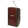 Amplivox Pinnacle Rugged Plastic Full Floor Lectern with Gooseneck Mic and Mahogany Panels