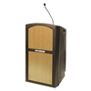 Amplivox Pinnacle Rugged Plastic Full Floor Lectern with Gooseneck Mic and Maple Panels