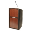Amplivox Pinnacle Rugged Plastic Full Floor Lectern with Gooseneck Mic and Cherry Panels