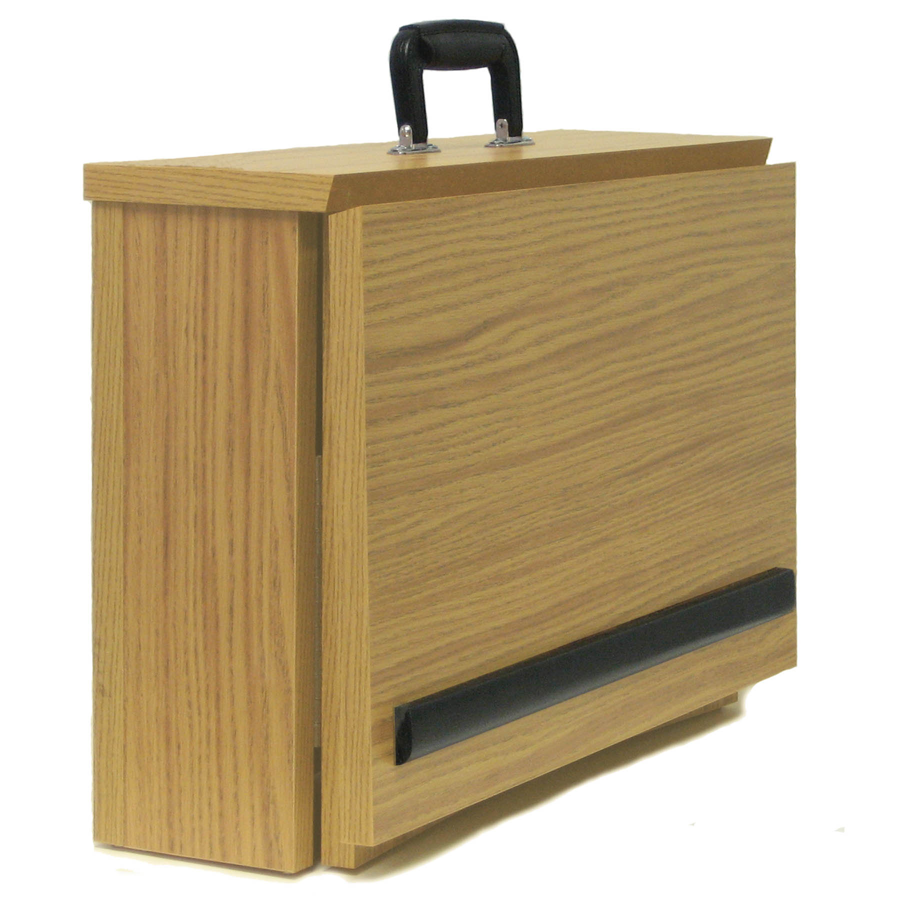 Lectern And Podium Ez Speak Folding Tabletop With Easy Grip Handle Oak Finish W272