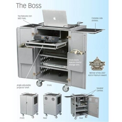"36.5""H x 23.5""W The Boss Ultimate AV Cart with Electrical Assembly and 7 Shelves - 27513 Balt,27513Stainless Finish"