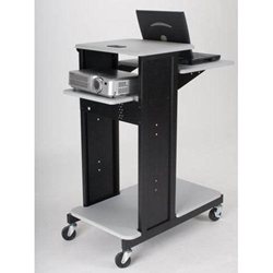 "40.75""H x 18.5""W Xtra Long 4-Shelf Presentation Cart with Gray Laminate Surface - 27521 Balt,27521Gray"