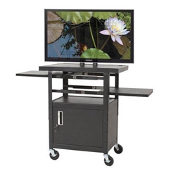 "46-62""H x 24""W Adjustable Flat Panel 5-Shelf TV/AV Cart w/Locking Cabinet-Fits - 27530 Balt,27530Black"