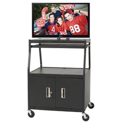 "46""H x 32""W Deluxe Wide Body Flat Panel TV Cart w/Cabinet ,Retracting Shelves- 27531 Balt,27531Black"